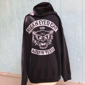 Mean eyed cat Johnny cash Austin black hoodie